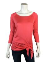 Cache L Top Shirt Coral Boat Neck 3/4 Sleeve Waist Tie Knit Womens Large L New