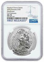 2020 Rwanda 1 oz Silver Nautical Ounces 400th Mayflower Voyage NGC MS70 FR