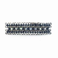 USA BARRETTE Rhinestone Crystal Hairpin Clip Vintage Elegant Simple Black Blue