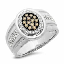 Ring Wedding Right Hand Natural .67Ct Mens 14K Gold White Champagne Diamond Oval