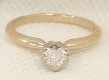 Estate 14K Yellow Gold 1/2 Carat Solitaire Heart Diamond Engagement Ring