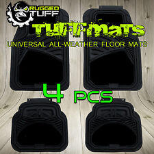 RUGGED TUFF NEW 4 PCS FLOOR MATS BLACK UNIVERSAL TRIM CUT SEMI CARPET HEAVY DUTY