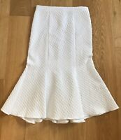 White Midi Skirt Sz 12 River Island Flared Occasion Boho Party Casual