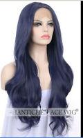 2018 Women's   Blue  Long Synthetic Wavy Heat Resistant Wigs AA