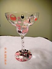 Pretty Painted wine glass with Charm