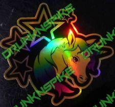 Unicornio Estrellas marea negra de oro de la Etiqueta Engomada del Coche Divertido Euro Dub Jdm picados Unicornio
