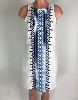 Tommy Bahama Womens Dress Linen Blue White Embroidered Shift Sleeveless Size S