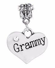 Grammy Heart Grandmother Grandmom Gift Rhinestone Charm for European Bracelets