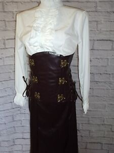 BROWN FAUX LEATHER PIRATE STEEL BONED UNDERBUST CORSET 38 to 34 IN WAIST 16 18