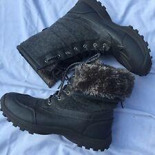 US Polo Assn Waterproof Duck Boot Size 11 Gray Rain Snow Winter USPA Sport Fur