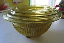 VINTAGE FEDERAL NESTING BOWLS AMBER RIBBED FOOTED SET OF 4 ALL