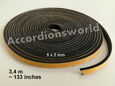 3,4 M Accordion Bellows Gasket self-adhesive/ Akkordeon Balgdichtung 5 x 2 (mm)