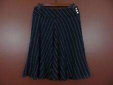 SK02406- NEW RALPH LAUREN Women 100% Silk Flared Skirt Blue White Striped Sz 6P