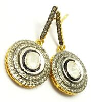 Wedding Jewelry RoseCut Polki Pave Diamond 925 Sterling Silver Victorian Earring