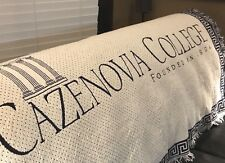 Cazenovia College Jacquard Afghan Throw Founded 1824 Navy White 45x65