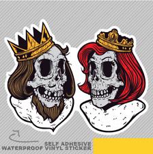 Skull King and Queen Love Beard Fun Vinyl Sticker Decal Window Car Van Bike 2453