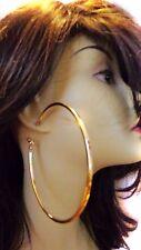 LARGE HOOP EARRINGS 3.75 INCH HOOP CLASSIC SOLID PLATED GOLD TONE HOOP EARRINGS
