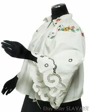 VINTAGE Polish embroidered folk costume blouse LOWICZ POLAND richelieu ethnic