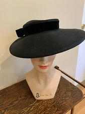Vintage 1940's Wide Brim Black Staw Hat With Velvet Bow