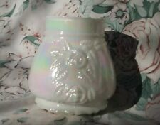 Vintage Iridescent Milk Glass Lamp Shade Embossed Roses Relief Hurricane Base