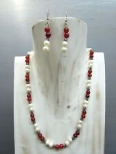 """16"""" Carnelian Necklace Round Beads and Pearl with Free Earrings US Seller!!!"""