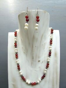 "16"" Carnelian Necklace Round Beads and Pearl with Free Earrings US Seller!!!"