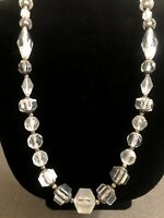 NEW Vintage Clear Lucite Large Beaded Single Strand  Statement Necklace