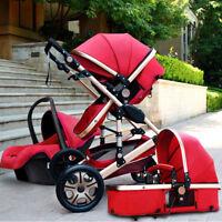 buggy Baby Stroller 3 in 1 High view Pram foldable pushchair bassinet&Car Seat