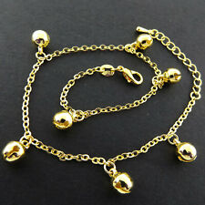 G/F Solid Ladies Bead Link Bell Design Anklet Xl Bracelet Real 18k Yellow Gold