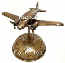 Antique Brass Airplane on Nautical World Map Globe Base Home & Office Decor