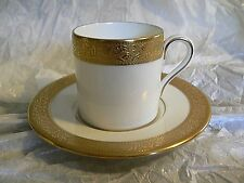 WEDGWOOD ASCOT GOLD ENCRUSTED FINE BONE CHINA DEMITASSE CUP & SAUCER SET