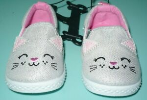 Wonder Nation Girls Slip On Canvas Shoes Gray Kitty Cat Size 5 NEW