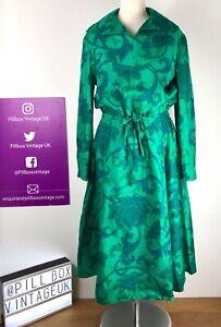 1970s Vtg Silk Blend Green Abstract Pattern Drawsting Waist Midi Dress Sz 14/16