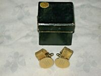 Pair of Gold Plated Two Piece Braided Band Chain Attachment W Monogram Cufflinks