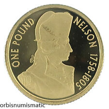 2005 ALDERNEY 1 POUND LORD NELSON 1/25 OZ GOLD PURE 999 PROOF COIN UNC #AA16