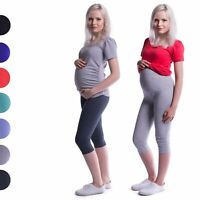 Cropped 3/4 Length Cotton Maternity Leggings Pants Pregnancy Over Bump