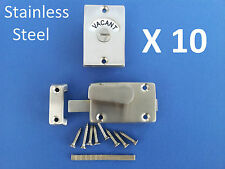 10 X INDICATOR BOLT STAINLESS STEEL BATHROOM TOILET DOOR LOCK VACANT ENGAGED