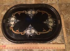 Large Hand Painted Antique ART DECO Tole Tray Black Gold Blue
