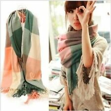Winter Tassel Thick Plaid Shawls For Women Clothing Accessories Scarves