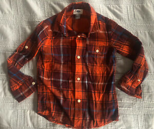 Old Navy Boys Orange Blue Plaid Black Button Up Tab Sleeve Shirt (Size XS (5))