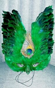 Vintage 1980s Mardi Gras Mask Real Peacock Feathers, Wall Hanging