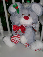 """New listing 12"""" Fisher Price Puffalump Gray Mouse Plush Toy Christmas Cane 1987"""
