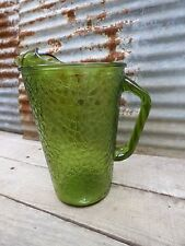 MID-CENTURY RETRO PITCHER/ AVOCADO GREEN GLASS DRINK PITCHER/ VINTAGE GLASSWARE