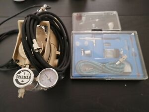 Airbrush Compressor and 2 airbrush sets (1 new 1 used)