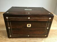 19th century  fitted vanity box with mother of pearl inlay and a secret drawer