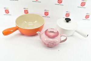 2 Le Creuset Sauce Pans and 1 Le Creuset Hello Kitty Tea Small Teapot  (0636)