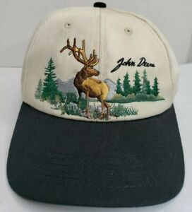 Vintage John Deere Hat Snapback Cap Elk Trees Mountain Embroidered Beige Canvas