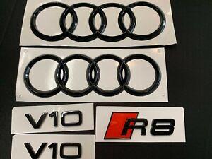 Audi R8 Gloss Black Emblem Kit 07-15  AND 17 AND UP