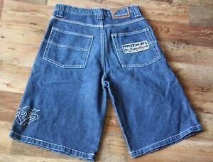 Men's SIR BENNY MILES NEW YORK Blue Denim Shorts Street Wear Hip Hop Size W29