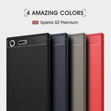 Housse etui coque silicone gel carbone pour Sony Xperia XZ Premium + film ecran